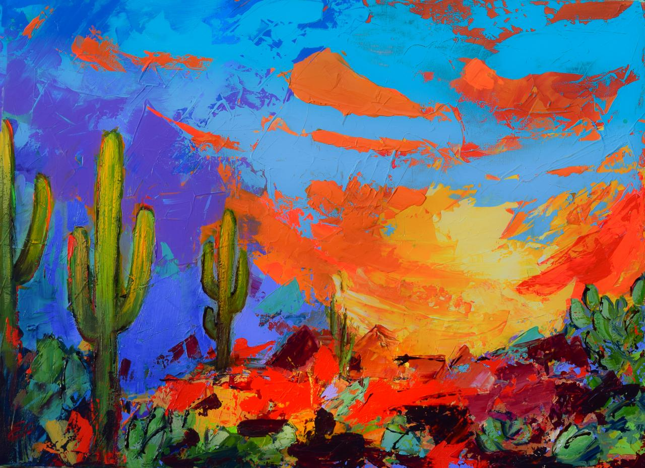 Saguaros land sunset