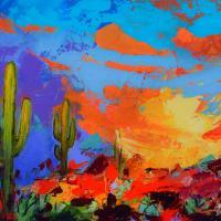 Saguaros land sunset